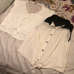 **Bundle!** 2 button-down tops with tie at bottom